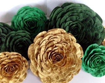 gold green White Giant large Paper Flowers cactus succulent backdrop bridal safari baby shower wedding wall graduation party  nursery decor
