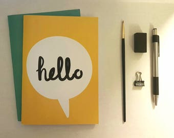 Hello bubble and teal Notebook set , journal, diary, plain notebook, sketchbook, stationery