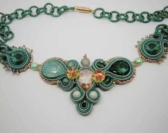 Collier Soutache With Emerald Cabochon