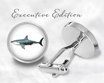 Shark Cufflinks - Great White Shark Cuff Links - Beach Cufflink (Pair) Lifetime Guarantee (S1080)