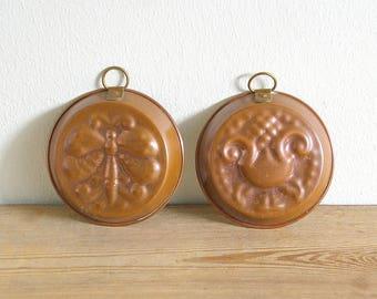Vintage copper molds pair.Swedish kitchen decor.Scandinavian copper moulds.Pudding molds.Kitchen decor.Country kitchen decor.Home decor