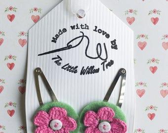 Pretty Girls Hair Clip, Crochet Flower