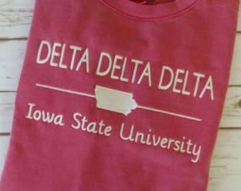 Custom sweatshirt, Delta Delta Delta Sweatshirt, Sorority Sweatshirt, Comfort Colors Sweatshirt, Monogrammed, Personalized Sweatshirt