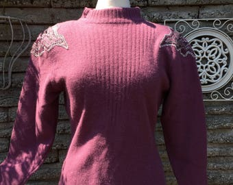 Vintage 1980's Lambswool Sweater  *  Leather Beaded Detail  *  Size Medium *  Large *  Glory 3