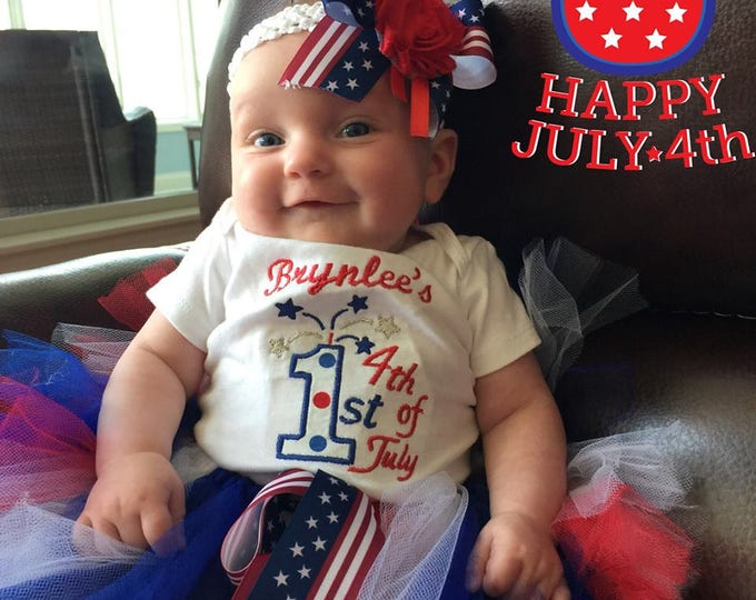 Baby girls 1st 4th of July outfit, Baby girl first fourth of July bodysuit, 4th of July,Red, White and Blue tutu, 4th of July headband