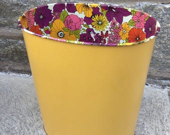 Vintage Retro Yellow & Pink Metal Flower Power Yellow Trashcan