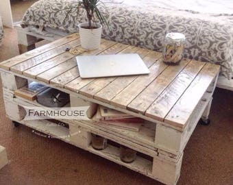 "Reclaimed Wood Pallet Coffee Table ""LEMMIK LARGE"" (95cmx65cm) in Rustic Farmhouse Style"