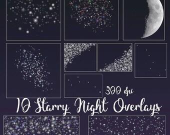 10 Starry Night Overlays, Moon Overlay, Stars Overlays, Sparkling Stars Overlays, Little Dipper Overlay, Big Dipper overlay, Night Overlay