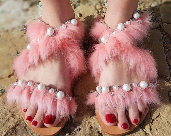 DHL FREE Greek sandals/pearls sandals/crystals/strappy  sandals/pink sandals/handmade sandals/summer shoes/leather/gladiator/luxury sandals