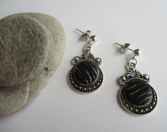 Dangle earrings inset with Japanese vintage silk kimono fabric - Black, grey and hint of burgundy