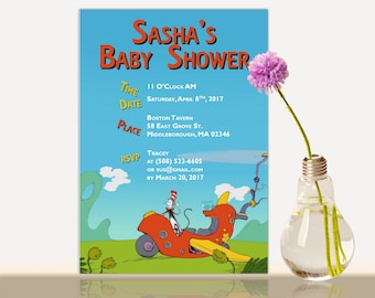 Cat in the hat Baby Shower Invitation -Dr.Seuss Bridal Shower- Baby shower party invite - cat in the hat invitation