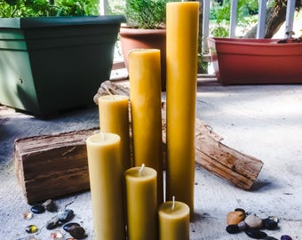 """Extra Tall, Elegant 100% Pure Organic Beeswax Pillar Candles. 2"""" in diameter & 6""""-9"""" tall. Scented or Unscented"""