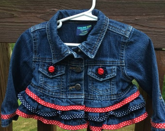 Red, white and blue jean jacket, embellished, baby girl size 12 months