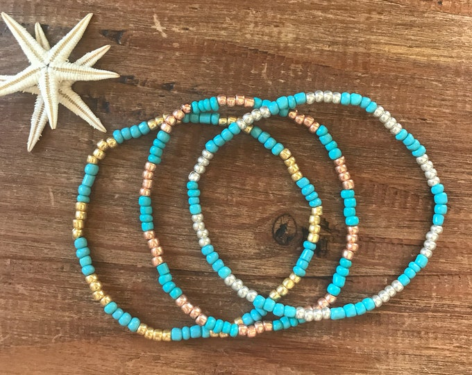 Clothing Gift Turquoise Bracelet Beaded Anklet Personalized Stretch Bracelet Ankle Bracelet Bridesmaid Gift Something Blue Bridesmaids Gifts