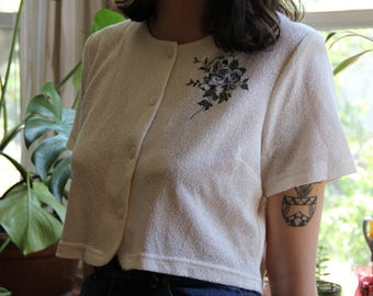 Cropped White Top with Floral Detail