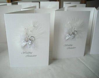 10 X White Feather Wedding Invitations