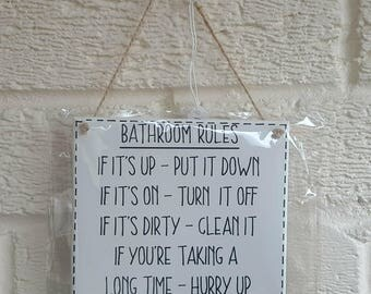BATHROOM RULES -  Funny bathroom sign - wooden Sign Plaque New Home gift House Gift