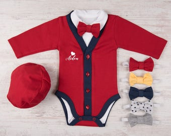 Baby Boy Valentine Outfit, Personalized Red/Navy Cardigan, Bodysuit, Hat & Bow Tie, Baby Boy Valentine's Day Outfit, First Valentine's Day
