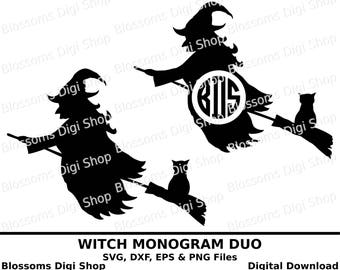 Witch monogram duo cut files, digital download, halloween svg, witch clipart, witches svg, halloween dxf, svg template, halloween eps vector