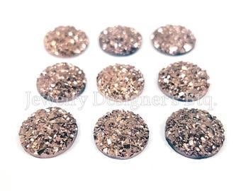 12mm Druzy Cabochon Faux Druzies Cabochons Rose Gold Color Cabs Kawaii Moonstones Resin Cabochon Iridescent Glitter Cabochons DIY Earrings