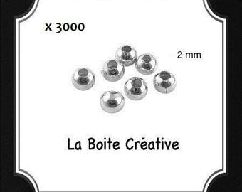 3000 INTERCALAIRES in SILVERED METAL 2 mm round beads