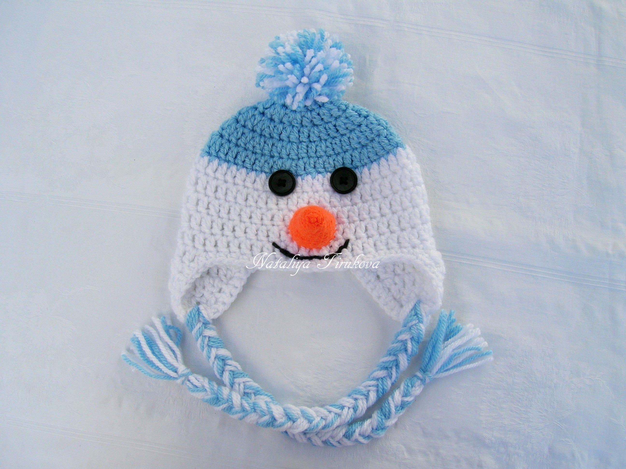 Crochet Snowman Hat Newborn Baby Toddler child Christmas Hat Crochet  Snowman Hat Earflap 6db17572d17a