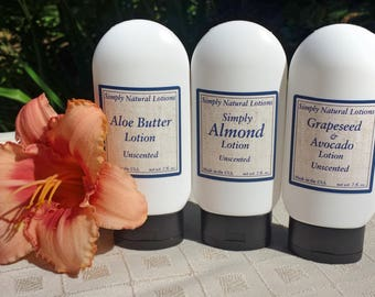 3 Pack Lotion - Grapeseed Oil - Avocado Oil - Almond Oil - Aloe Butter - Lotion - Skin care - Organic ingredients - All Natural