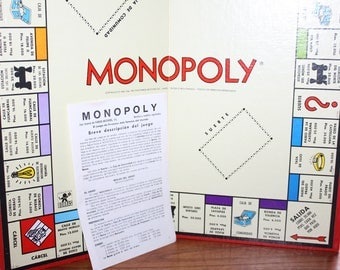 1960's Spanish Monopoly Game Board and Game Instructions -- Monopoly Game -- Spain -- Game, Scrapbooking, Art -- 1960's