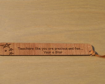 Wooden bookmark, teachers gift, nursery staff gift, personalised bookmark, engraved gift,personalised teachers gift,affordable teachers gift