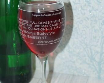 Personalised wine glass, wine glass, medicine label glass, pharmacy label glass, engraved glass, personalised glass, pharmacy glass, doctor
