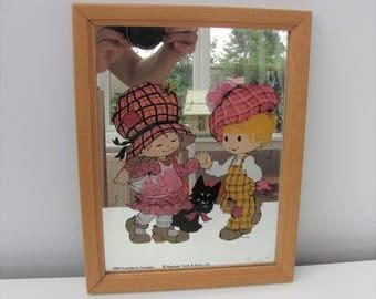 Vintage Kitsch Child's Mirror Scandecor Sweden 1980 Cute Kids Room Gift 1980s