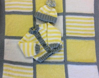 "Hand-knitted Blanket, Cardigan & Hat~0-3mths or 19-22"" Reborn"
