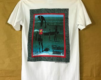 """90s Vintage 1993 The Endless Summer II Bruce Brown T-shirt Adult Small Size Chest 18"""" Made In Usa"""