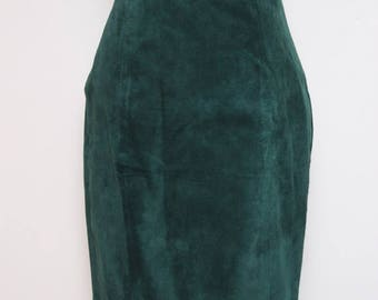 25% OFF VTG 90s Green Suede Leather High Waist Skirt Vest 2 Piece Suit S