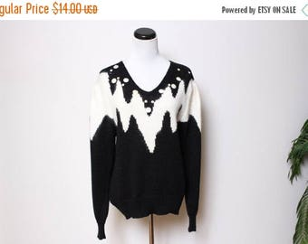 25% OFF VTG 80s ZigZag Fuzzy Sequin Christmas Winter Sweater M