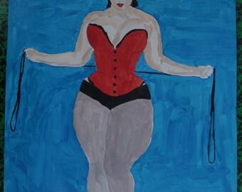 """dessin peinture acrylique et encre de chine nu féminin """"Le corset""""  signé G.Vanspey"""