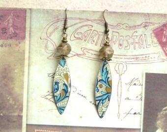 Floral Earrings, Flower Earrings, Tin Earrings, Romantic Gift, Vintage Jewellery, Pewter Earrings, Art Deco, Upcycled
