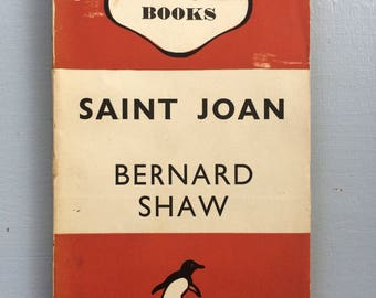 1946 Vintage Penguin Book, Saint Joan by Bernard Shaw, fiction, literature, novel, gift idea