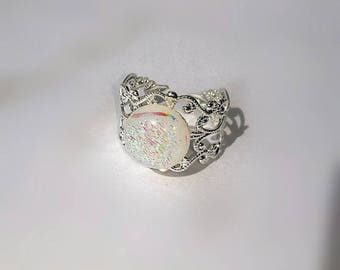 Glass Rainbow Unicorn Adjustable Ring