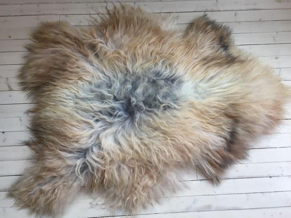 Long haired Sheepskin rug soft, volumous throw sheep skin Faroese pelt natural brown white grey 16139