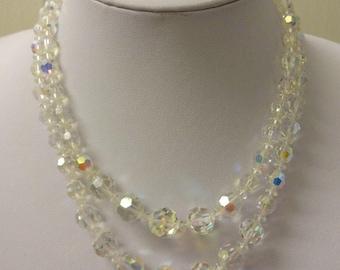 Vintage Crystal Necklace, Aurora Borealis Crystal Necklace, AB Necklace, Crystal Multi Strand Necklace, Double Strand Necklace