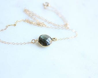 Floating Gold Labradorite Necklace -  Labradorite Connector necklace - Faceted Labradorite Gemstone Necklace on Gold Filled Chain