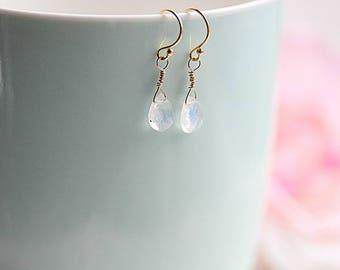 Wire wrapped Moonstone Dangle Earrings, Gold Filled, June Birthstone Earrings, Gemstone Drop Earrings, Flash moonstone, Gift for her