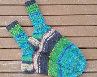 Hand knit socks, Hundertwasser socks, Hundertwasser wool, wool socks, women socks, handmade socks, socks for women, made in Germany, knitted