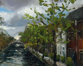 "small oil painting, ""Canal in Delft"", 6x6 inch, 15.2x15.2 cm, oil on panel"