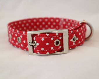 1 x  Handmade red polka dot dog collar with silver metal buckle