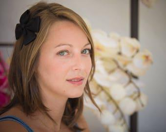 Black Satin bow headband