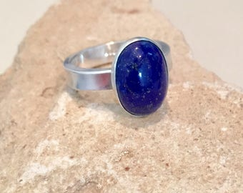Sterling silver lapis lazuli ring, oval stone ring, oval gemstone ring, stackable sterling silver ring, sterling silver ring, gift for her