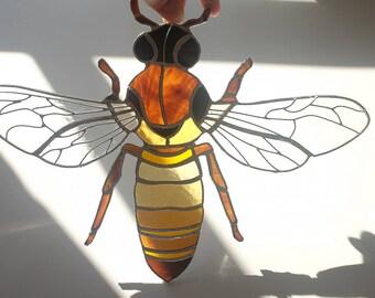 Stained Glass Honey Bee Suncatcher, Honey Bee Window Decoration