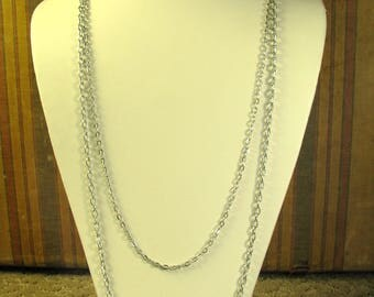 Sarah Coventry vintage costume two strand chain silvertone necklace 18""